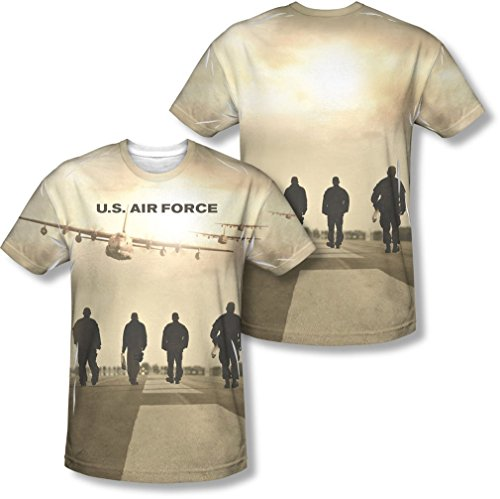 Air Force - Long Walk Homme (Front / Back Imprimer) T-shirt -, X-Large, Sublimate White