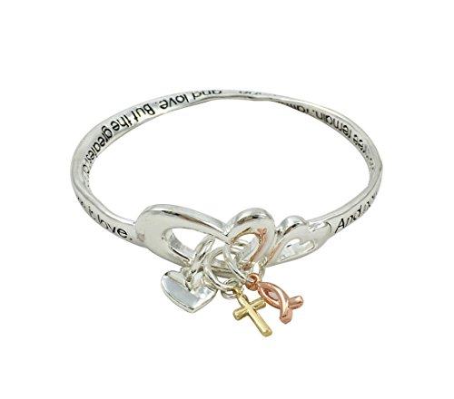 Twist bangle inspirational religious charm bracelet (1 Corinthians 13:13)