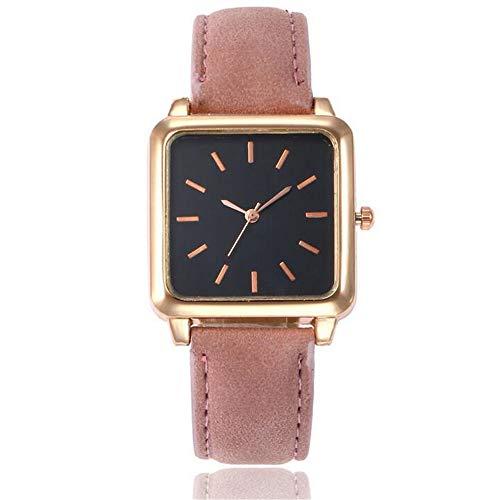 ZSDGY Reloj de cinturón de Cara Negra con Cabeza Cuadrada para Mujer, Reloj de Cuarzo de Escala Simple B
