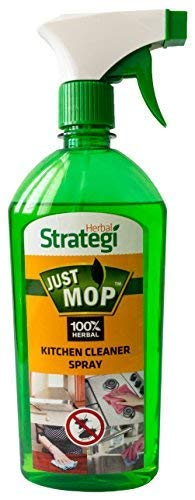 Herbal Strategi – Just Mop Kitchen Cleaner Spray   100% Herbal   Disinfectant & Insect Repellent   Made with Lemongrass, Pine Oil & Cedar wood Oil   Eco-friendly & Biodegradable   Skin Safe, Baby Safe & Pet-Friendly   500mL