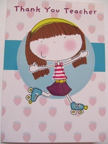 Mädchen auf Rollschuhe Pretty Thank You Teacher Grußkarte