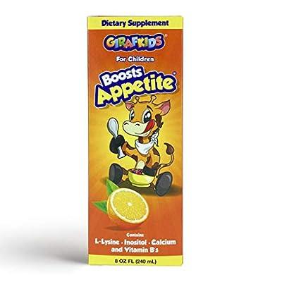 GirafKids Appetite Vitamins for Kids – 8Fl Oz Appetite Boost Syrup – L-Lysine, Inositol, Calcium and Vitamins – Orange Flavor – Premium Energy Booster, Improves Appetite