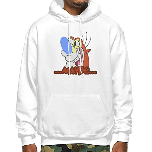 Ren and Stimpy Unisex 3D Novelty Hoodies Pullover Sweatshirt Pockets Christmas XXL White