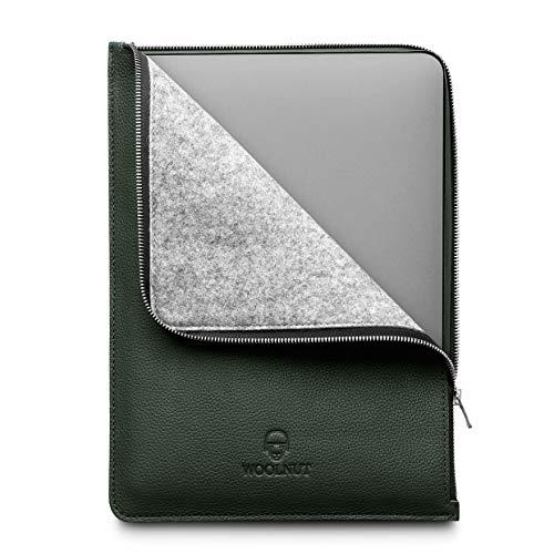 Woolnut Funda de Cuero y Lana con Cremallera, Funda para Funda MacBook Pro 13 y Air 13 Pulgadas (Nuevo Modelo) - Verde