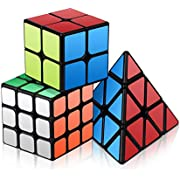Vdealen Speed Cube Set, Roxenda Magic Cube Set of 2x2x2 3x3x3 Pyramid Smooth Puzzle Cube (2x2x 3x3 Pyramid)