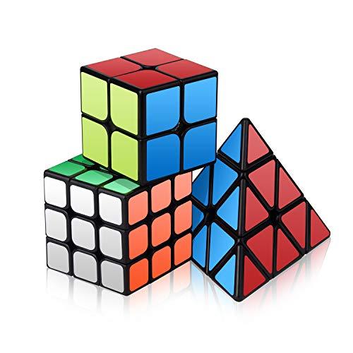 Vdealen Zauberwürfel Set, Professional Speed Cube Set mit 2x2 3x3 Pyramide Zauberwürfel von Puzzle Spielzeug, Zauberwürfel 3er Set für Anfänger und Profis