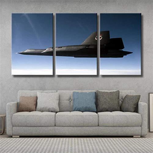 ADKMC Lienzo Pintura Avión Militar Sr-71 Espía Avión Negro Moderna Cuadro Decoración para el hogar Sala de Estar Cartel de Pared Abstracto 3 Piezas