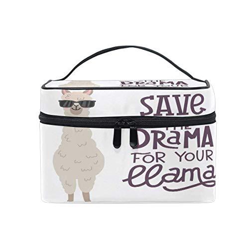Bolsa de maquillaje, Animal Alpaca Llama Portátil Estuche de Viaje Grande Imprimir Cosméticos Bolsa Organizador Compartimentos para Niñas Mujeres Señora