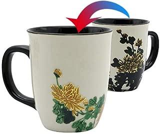 Asmwo Funny Ceramic Magic Heat Color Changing Art Coffee Tea Mug Gold Chrysanthemum Printing Porcelain Mugs for Women Personalized White Green Tea Cup 16 oz Large coffee Mugs for Mom Girl Grandma