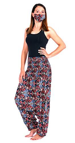 Moyra-Caprice Damen Shalwar, Pumphose, Haremshose, Yogahose Red-Butterfly one Size