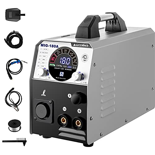 VEVOR MIG Soldador Inversor 180A 220V Máquina de Soldadura Inverter IGBT 6 en 1 Núcleo de Flujo/Alambre Sólido Soldador Inverter TIG MIG con Fuente de Alimentación CC para Soldar Trabajos Eléc