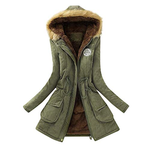Yogogo Damen Winter Mantel Winterparka Winterjacke Wintermantel Trenchcoat mit Kunstpelz Pelzkragen Damen Lange Daunenjacke Jacke Steppmantel Outwear Warm Baumwolle Mantel Parka
