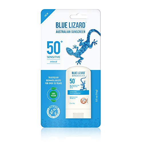 BLUE LIZARD Sensitive Mineral Sunscreen Stick with Zinc Oxide, SPF 50+, Water Resistant, UVAUVB Protection Easy to Apply, Fragrance Free, Sensitve, Unscented, 0.5 Ounce