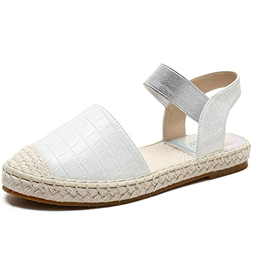 XIANGLV 2121 Sandales compensées tendance pour femme Bout fermé Style rétro, blanc (blanc), 39 EU