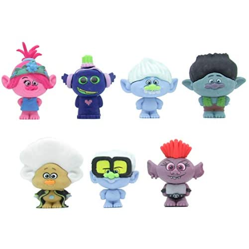 Set Completo Trolls World Tour 7 Personaggi 4cm Originali Puzzle Palz Gomme da Cancellare DreamWorks