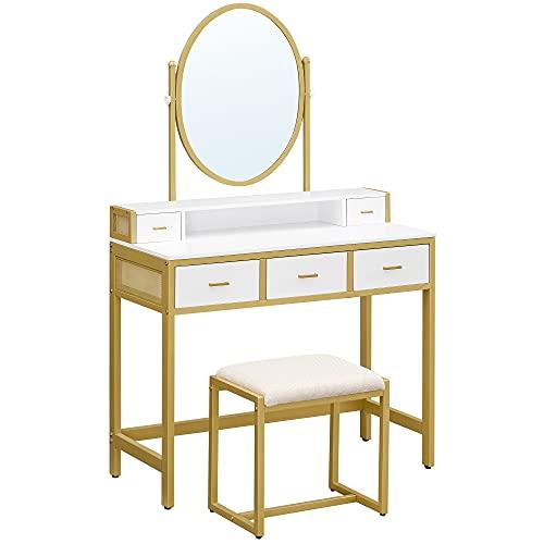 VASAGLE Mesa de tocador con taburete acolchado, espejo ovalado, 5 cajones, para dormitorio, vestidor, moderno, blanco y dorado...