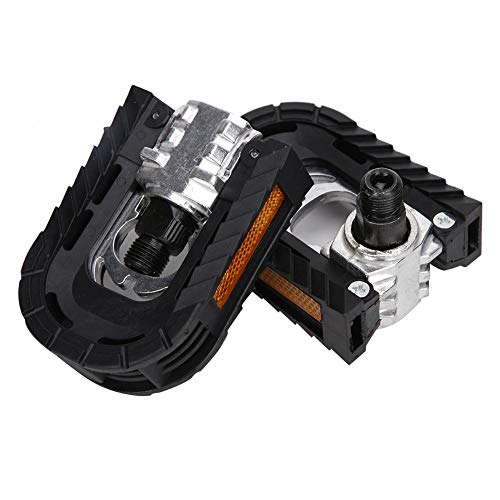 Keenso 1 Pair Foldable Aluminum Alloy Bike Pedals Lightweight Metal Bicycle Pedals for Folding Bike, Mountain Bike, Road Bike
