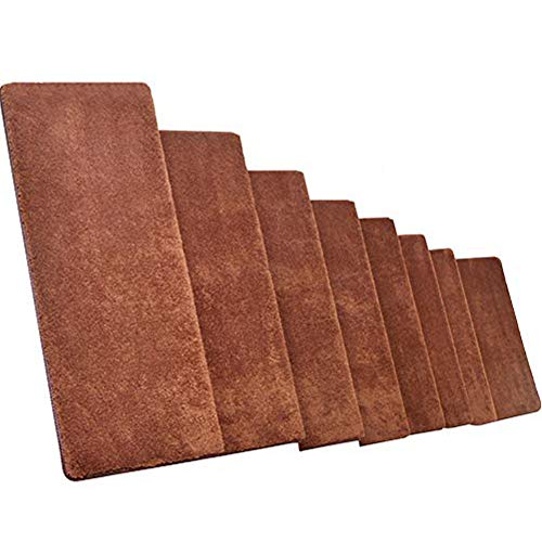 MOCOHANA Set of 13 Self-Adhesive Stair Treads Bullnose Stair Protectors Staircase Carpet Non-Slip Stairway Mat Runner Rugs (Brown, 25.59 x 9.44 x 1.18 inches)