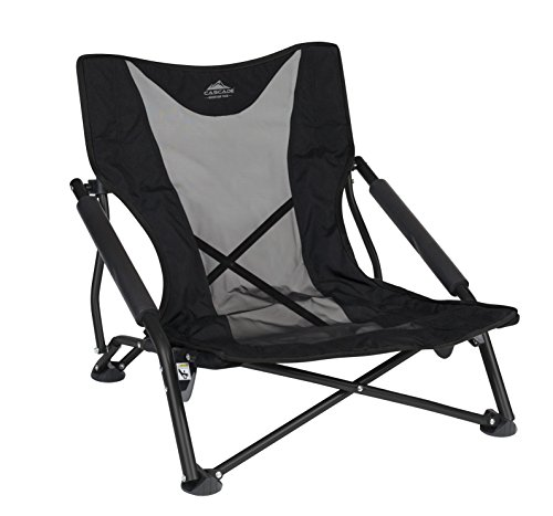 Cascade Mountain Tech Compact Low Profile Outdoor Folding Camp Chair with Carry Case, Black