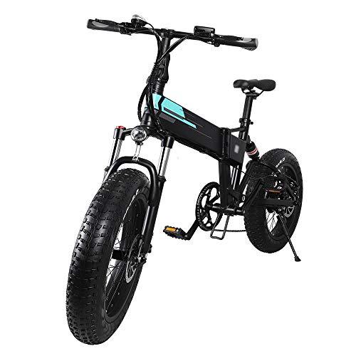 Sconosciuto Bicicletta Elettrica Pieghevole Ruote Larghe 20 x 4 Pollici 500W 40km/h Ciclomotore Batteria al Litio Bici da Città/Montagna in Alluminio Display LCD 3 modalità [EU Stock]