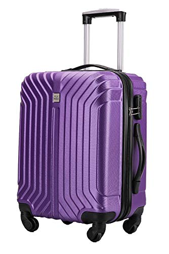 Flymax Cabin Luggage 4 Wheel Suitcase Lightweight Carry on 55x40x20 Approved for Ryanair Easyjet British Airways Purple