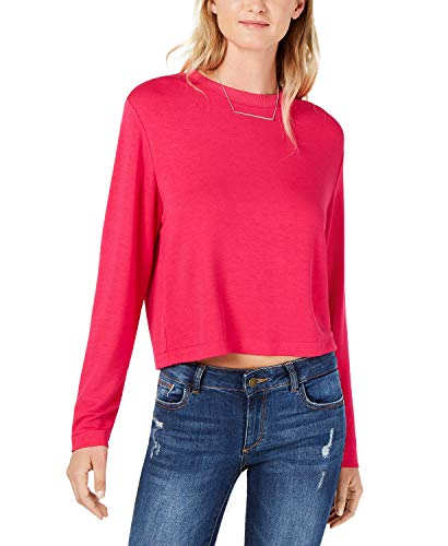 bar III Cropped Sweatshirt Pink Large