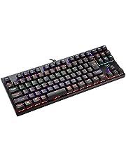 Qtop メカニカルキーボード 青軸 ゲーミングキーボード 干渉防止 87キー 6色バックライト 1.8m超長ケーブル