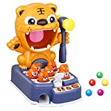 Whack a Mole Game Toys for Toddlers, Multifunctional Kids Tiger Shooting Toys Marble Game Interactive Hammering Pounding Toy with Music Light, Educational Toys for Children (Blue)