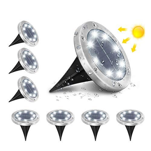 AMBOTHER A-SL-01 Solar Bodenleuchten, 8 LEDS Solarleuchten Solarlampen Gartenleuchten für Außen, 6000K Kaltweiß Solarlicht Garten Licht, IP65 Wasserdicht für Rasen, Patio, Hof, 8er Pack