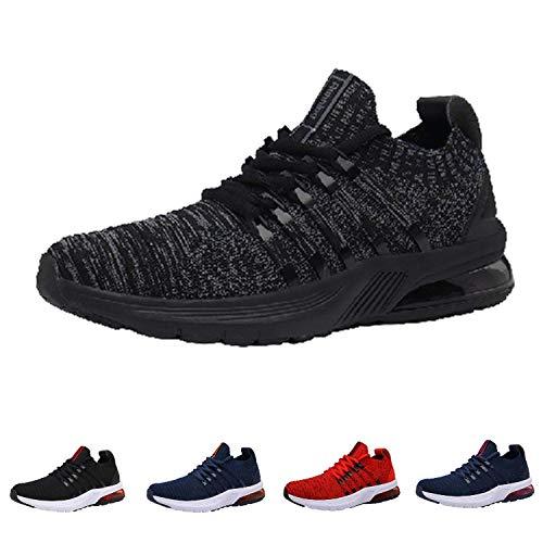 Monrinda Zapatillas de Running Hombre Mujer Air Correr Deportes Calzado Aire Libre Comodos Sneakers Gimnasio Casual BlackGrey 43EU