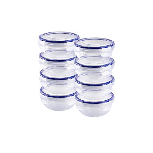 Grizzly Frischhaltedosen Set Rund flach 8 x 400 ml Vorratsdosen mit Deckel 100% Luft-und Wasserdicht