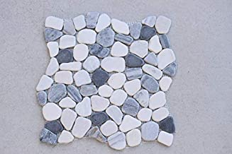 Flat Pebble Interlocking Tile Marble Mosaic Tiles (1-Sheet) Kitchen, Bathroom, and Patio Flooring | Indoor and Outdoor Use | Natural White Black Silver Stones | Quick and Easy Grout Installation