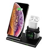 Hoidokly 3 en 1 Chargeur sans Fil pour iPhone et iWatch 10W Chargeur à Induction Rapide Détachable...