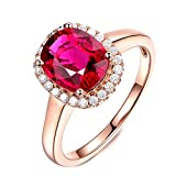 Aooaz Wedding Ring Set, Onyx Rings for Women Gold 18K Rose Gold Ideal Cut Oval 2.11ct Watermelon Tourmaline Diamond Size 5