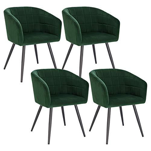 WOLTU 4X Esszimmerstühle Küchenstuhl Designer Stuhl Relaxstuhl Sitzfläche aus Samt Gestell aus Metall mit Rückenlehne und Armlehnen Dunkelgrün BH260dgn-4