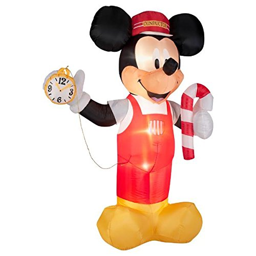 Train Conductor Blow Up Mickey Mouse Outdoor Christmas Decorations