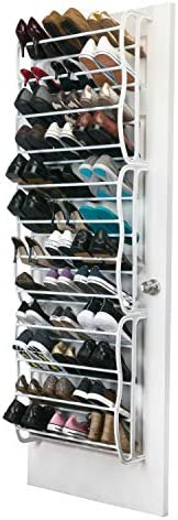 Simplify 36 Pair Adjustable Over The Door Shoe Rack White product image