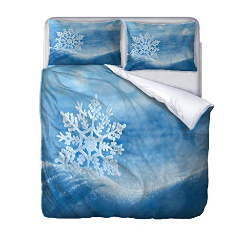 Single duvet covers set snowflake Quilt Cover Set with Zipper 100% Polyester with 2 Envelope Closure Pillowcases 50x75cm for Children adults woman 140x200cm