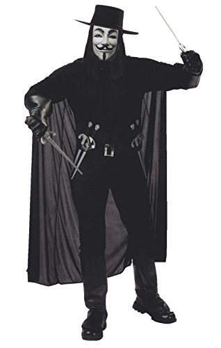 Close Up V for Vendetta Kostüm für Erwachsene (Hemd, Hose mit Stiefelgamaschen, Hut, Maske & Gürtel mit 4 Dolchen)
