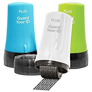 The Original Guard Your ID Advanced 2.0 Roller for Identity Theft Protection Confidential Security Stamp (Regular 3-Pack, Mixed Color: Turquoise, Green, White)