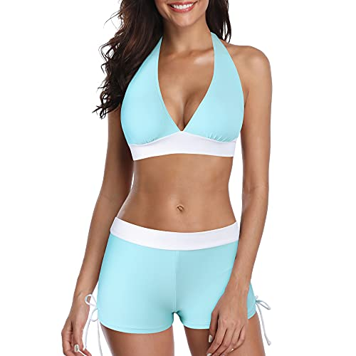 Zando Womens Two Piece Push Up Swimwear Halter V...