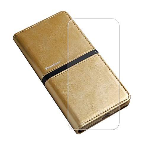 """Capa carteira para Umidigi A5 Pro (6,3"""") + película protetora de tela de vidro temperado, capa flip de couro sintético YZKJ com compartimentos para cartão de crédito e capa protetora de suporte - Dourado"""