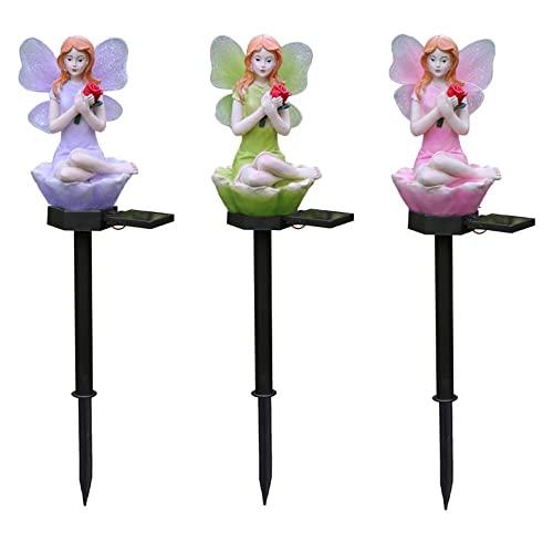 HuaDa 3 Paquete Flor Fairy Lámpara Solar del césped Plug Lights Luces de jardín Decoración de jardín Control de luz Inteligente Ahorro de energía