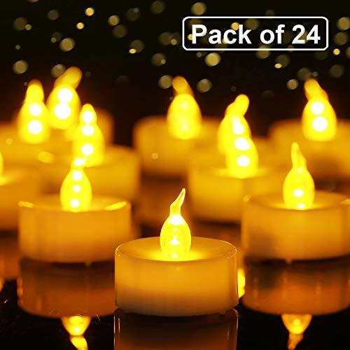 Homemory Branco di 24 flameless ha portato Il tè Leggero, Giallo ambrato Flickering Lampadina, di Lunga Durata delle batterie elettriche Candela votiva, realistica e Brillante