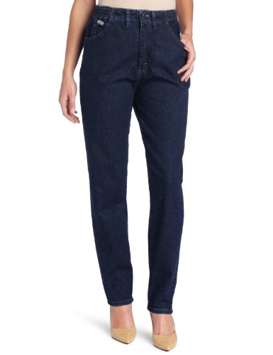 Lee Women's Missy Relaxed-Fit Side Elastic Tapered-Leg Jean, Dark Indigo, 16