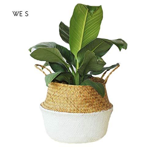 LIMMC Panier de Rangement en Pot de Fleurs de Jardin de Vase à Fleurs Style Nordique, Pliable, aux algues Naturelles, noué à la Main, Blanc S 22x20cm, L