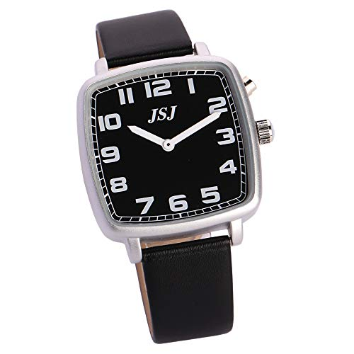 Reloj de pulsera cuadrado parlante con función de despertador, función de voz, hora y fecha, esfera negra, correa de piel negra TGSW-1711G