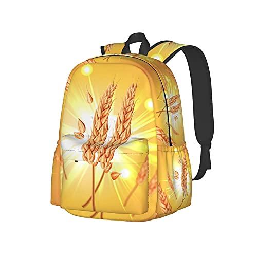 Zaino casual durevole per bambini ragazzi uomini donne, chicchi di grano volanti avena orzo giallo sole moda libri zaini per laptop scuola viaggio zaino college 16,9 pollici