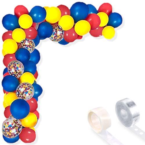 Juego de 102 globos de arco para fiesta de cumpleaños, boda, baby shower (confeti azul, rojo, amarillo, multicolor, 102 unidades)
