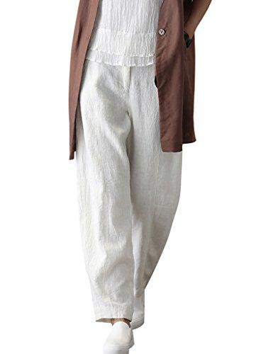 Youlee Femmes L'automne Coton Lin Élastique Taille Jambe Large Pantalons Blanc